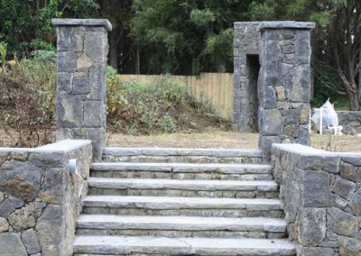 Stone Wall with Pillar capping and Staircase