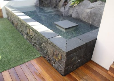 Capped stone wall and Water Feature