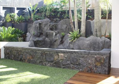 Stone Wall and tiered Garden