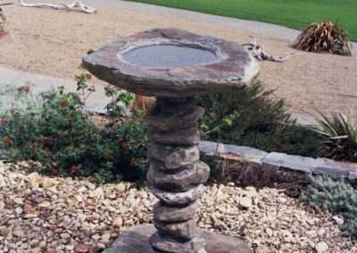 Carved Schist Bird Bath
