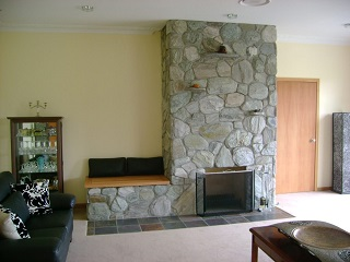 Retro Boulder Fireplace with Seat