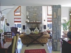 Stone Fireplace and Column