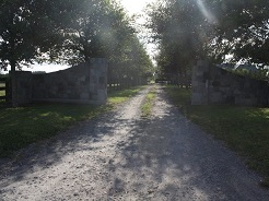 Tree lined country entrance with stone walls and gates