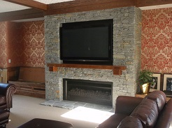 Schist Fireplace with Media Feature