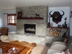 Schist Fireplace with Long Hearth
